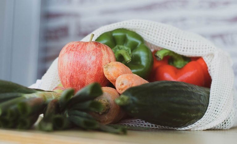Fruit and veg in a reusable bag